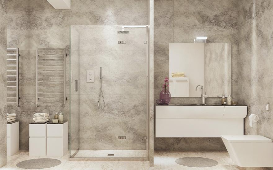 Marmurowy brodzik kabiny prysznicowej